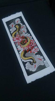 Serpente e Crisântemos ! Ecoline, Nanquin e caneta Nanquin sobre papel !