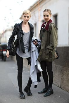Streetstyle. Her hair on the left. <3