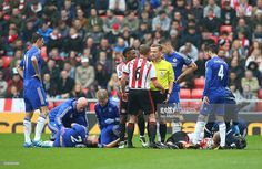 John Terry of Chelsea lies injured during the Barclays Premier League match between Sunderland and Chelsea at The Stadium of Light on May 7, 2016 in Sunderland, England.