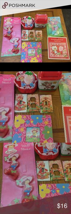 Strawberry 🍓 Shortcake Lot (ST#55) Strawberry 🍓 Shortcake Lot (ST#55). New. Includes the following:  2 picture frames, Ella hooks, glow in the dark butterflies, 3 light switches, tin, and a pillow picture holder.  Great stocking stuffers. Strawberry Shortcake Other