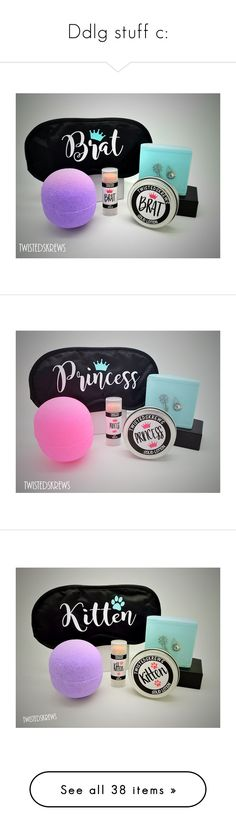 """Ddlg stuff c:"" by nina-fluffin-radke ❤ liked on Polyvore featuring beauty products, gift sets & kits, bath & beauty, grey, spa & relaxation, spa kits & gifts, soap kits, lip balm kit, dark olive and Olympia Le-Tan"