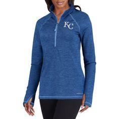 Women's Kansas City Royals Majestic Royal Don't Stop Trying Cool Base Half-Zip Pullover Jacket 4