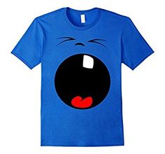 Large yawning emoji face with one tooth.  Big funny graphic tee shirt