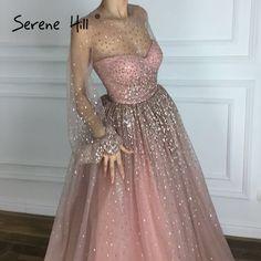cec9aa24bb1 2018 neue Design Sexy Sheer Long Sleeve Abendkleider Glänzende Pailletten  A-linie Parteikleider Robe De Soiree Ruhigen Hill