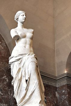 "Unknown (Greek) Artist:  Venus de Milo, 330 - 27 B.C., Marble, 6'6"" (H) - The Louvre"