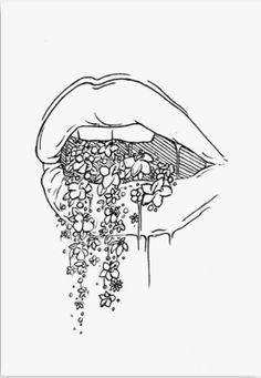 aesthetic drawing 'all the pretty things i tried to say to you' Poster by Lexie Pitzen Pencil Art Drawings, Art Drawings Sketches, Easy Drawings, Tattoo Drawings, Drawing Lips, Pretty Drawings, Random Drawings, Mouth Drawing, Drawing With Pen