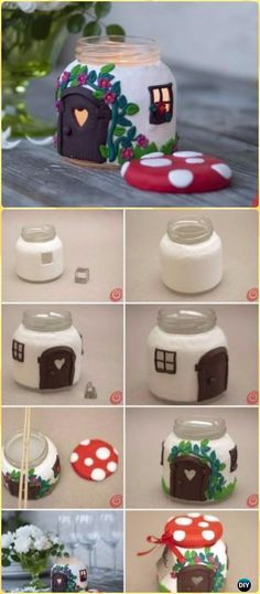 DIY Mason Jar Mushroom Cottage Light Tutorial - DIY Fairy Light Projects & Instructions