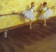 Edgar Degas. Dancers Practising at the Bar. 1876-77.  Mixed media on canvas.  The Metropolitan Museum of Art,  New York, USA.