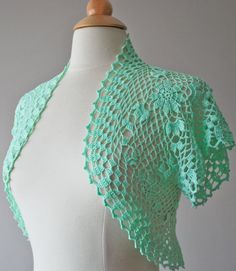 Mint green crochet bolero - Made to order
