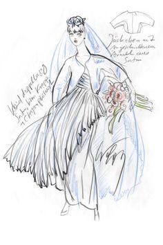Das Kleid, hat Joop auf einer weiteren Skizze vermerkt, soll aus doppellagigem Satin oder plissiertem Chiffon und Krepp gefertigt sein. Dazu kann sich der Designer ein Satinjäckchen mit angeschnittenen Ärmeln vorstellen.