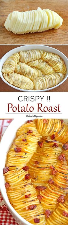 The crispy potato roast with thinly sliced and seasoned potatoes - A beautiful and unique way to serve potatoes - great for holidays, or to make a regular day feel like one.