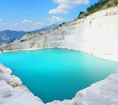 """Marble Lake is a tiny turquoise water mine lake near the city of #Prilep. Known among the locals as """"Macedonian Pamukkale""""."""