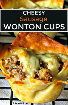Easy Sausage Wonton Cup Appetizer ~ lightly spicy crumbled sausage cheddar and. Easy Sausage Wonton Cup Appetizer ~ lightly spicy crumbled sausage cheddar and cream cheese baked in crispy wonton cups. Delicious fun food for parties. Wonton Appetizers, Wonton Recipes, Finger Food Appetizers, Yummy Appetizers, Appetizers For Party, Finger Foods, Sausage Appetizers, Italian Appetizers, Best Appetizer Recipes