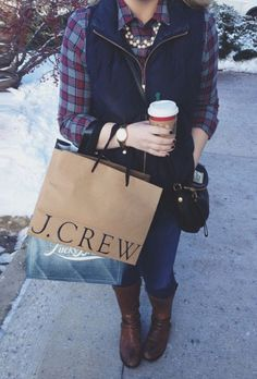 Me christmas girl starbucks vest outfit pearls boots shopping gold watch preppy flannel ootd prep jcrew toryburch marcjacobs katespade Vest Outfits, Preppy Outfits, Preppy Style, Cute Outfits, Preppy Girl, Fall Winter Outfits, Winter Wear, Autumn Winter Fashion, Winter Clothes