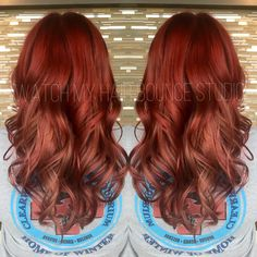 Red and rose gold hair, Color melt. Using Alfaparf Evolution of the Color. Watch my Hair Bounce Studio, Buford, Georgia
