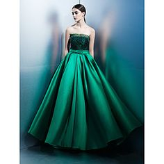 TS+Couture®+Formal+Evening+Dress+A-line+Strapless+Floor-length+Lace+/+Satin+with+Bow(s)+/+Lace+–+USD+$+109.99