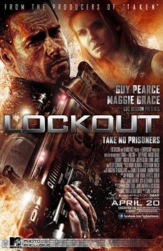 Poster of 'Lockout' starring Guy Pearce and Maggie Grace, directed by Luc Besson