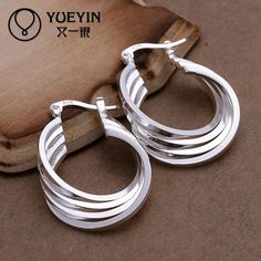 New arrival brand silver earring 4 layers overlap fashion style ear ring for women fashion jewelry //Price: $6.95 & FREE Shipping //     #hashtag2