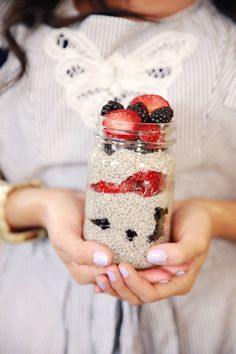 Oh she glows chia seed pudding! So quick and easy.  Serve with fresh berries in season