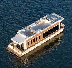 Pontoon Houseboat, Houseboat Living, Pontoon Boat, Houseboat Ideas, Luxury Houseboats, Luxury Yachts, House Yacht, Barge Boat, Floating Architecture