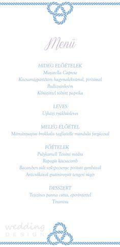 Sailing wedding theme, menu - Vitorlásos esküvő tematika, menü Graphics/Grafika:Wedding Design