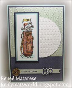 Renlymat's World: Happy 80th birthday ... Handmade masculine golf sports themed card.