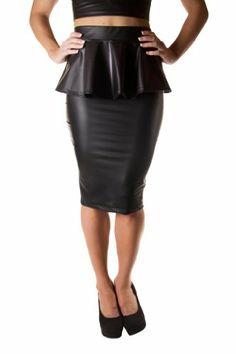 Cemi Ceri Women's Peplum Faux Leather Pencil Skirt