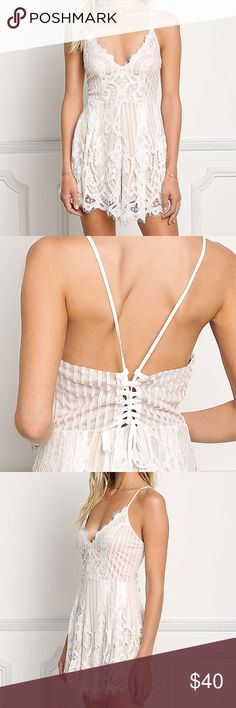 White & Dusty Pink Lace Romper Spaghetti Strap Plunging Neckline and All Over Lace Romper Dresses Mini