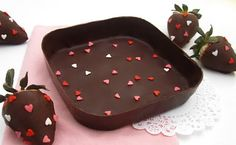 DIY Edible Chocolate Box filled with Chocolate dipped strawberries!