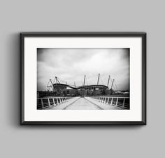 Black and white landscape photograph of the Etihad Stadium by PGrogan Photography, Available from Etsy