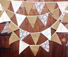 Rustic burlap, calico, lace, wedding bunting 34ft 58 flags on oatmeal tape ideal shabby chic, cottage chic, country barn venue decoration