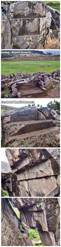 Some of the rock cut-outs attributed to the Inca found throughout Peru's Sacred Valley. Cut very precisely and some showing evidence of extreme heat or vitrification. Some of these massive megaliths are upside down, at strange angles or cracked all the way through. They're strewn about as if something massive occurred in the distant past. From Megalith Research