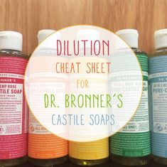 I can't take credit for this one, but I love Dr. Bronner's products so much that I had to pass these cheat sheets along. Made with certified organic and fair trade ingredients, Dr. Bronner's Pure-Liquid Castile Soaps are concentrated (i. ready to be Homemade Cleaning Products, Cleaning Recipes, House Cleaning Tips, Natural Cleaning Products, Cleaning Hacks, Green Cleaning, Natural Products, Free Products, Castile Soap Uses