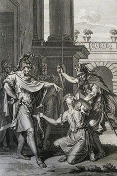 124. The Amalekite reports Saul's death. 2 Samuel cap 1 vv 2-15. Picart