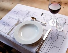 There's a little trick for figuring out which fork to use when eating at a fancy dinner party: start from the outside and work your way in. That's all fine and good while you're dining, but what if you're the one setting the table? The Table Setting Diagram Placemat conditions you to create the perfect place setting every time… or if your guests aren't too pretentious and have a good sense of humor you can just leave it out.