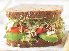 California Club Sandwiches - with cucumber, roasted bells, and soft goat cheese, on a multigrain bread