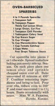 Oven BBQ Spareribs Recipe Clipping (possibly from Retro Recipes, Vintage Recipes, Rib Recipes, Cooking Recipes, Family Recipes, Jamaican Recipes, Recipies, Smoker Recipes, Cooking Tips