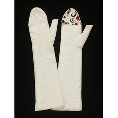 1790-1800/ made, Great Britain Woven cotton lawn, part lined with hand painted cotton Mittens | | V&A Search the Collections