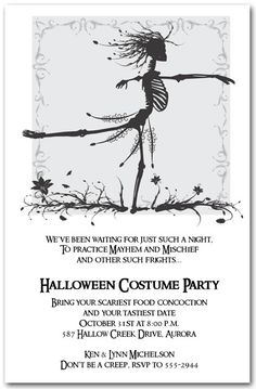 Waltzing Skeleton Halloween Invitations are perfect for Halloween...