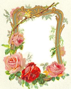 Art Nouveau Roses Frame ~ PJH Designs Hand Painted Antique Furniture: Free Graphics Wednesday #68