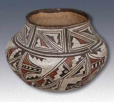 zuni designs | Polychrome Olla with Kiapkwa Style Design, c.1900 [R]