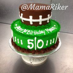 Simple. Two tier buttercream iced and decorated. Boys first birthday cake. Football theme.