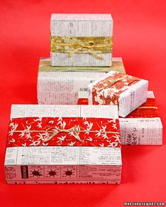"""See the """"Japanese-Style Newspaper Gift Wrap"""" in our Gift-Wrapping Ideas gallery - this is a simple yet classy way to wrap gifts, especially small ones! Cheap Christmas Gifts, Christmas Gift Wrapping, Christmas Themes, Holiday Gifts, Christmas Crafts, Santa Gifts, Wrapping Ideas, Creative Gift Wrapping, Creative Gifts"""