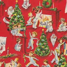 vintage+christmas+paper | Vintage Christmas Wrapping Paper