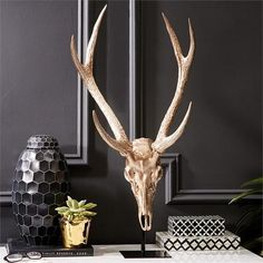 Soft Gold Deer Head on Stand design by Tozai