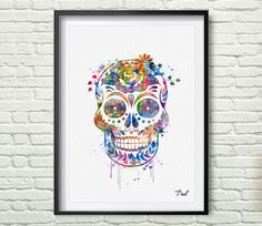 Sugar Skull art print watercolor wall art wall by PaulArtPrint