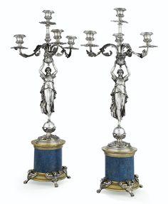 Par de candelabros en plata, bronce dorado y lapis lazuli posiblemente por Giuseppe Salvi, Roma, 1870