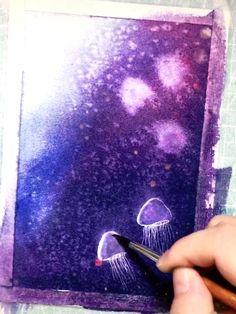 Art Discover Great art by: Wow Art (YöuTube) Watercolor Jellyfish Watercolor Galaxy Jellyfish Painting Jellyfish Drawing How To Draw Jellyfish How To Draw Water Jellyfish Tentacles Watercolor Night Sky Watercolor Mandala Art Sketches, Art Drawings, Marker Drawings, Watercolor Jellyfish, Watercolor Galaxy, Jellyfish Drawing, Jellyfish Painting, Watercolor Ideas, Jellyfish Tentacles