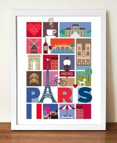 Travel Poster, City Print, Paris, Eiffel Tower, mid century modern retro style print, Urban art, Cityscape, Vacation print, Travel wall art
