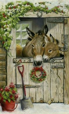 Trademark Global Janet Pidoux 'Christmas Donkies' Canvas Art - x , Christmas Scenes, Christmas Animals, Christmas Art, Vintage Christmas, Christmas Decorations, Christmas Donkey, Artist Canvas, Canvas Art, Farm Animals